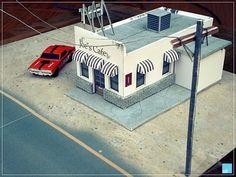 Joe's Cafe Building Papercraft for Diecast Diorama