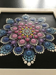 Large Framed Original Hand Painted Acrylic Mandala Painting