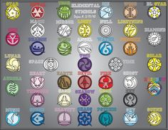 I once wrote up a story dealing with the gods from Japanese Legends. These are the symbols that I created for the story line. They are the symbols of Suzaku, the Vermillion Bird of Fire - Seiryu, t. Wiccan, Magick, Witchcraft, Magia Elemental, Types Of Magic, Element Symbols, Element Chart, Elemental Powers, Magic Symbols