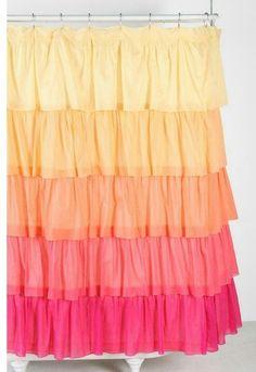 Yellow, orange, pink ruffle shower curtain