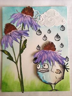 Tim Holtz Bird Crazy plus Flower Garden stamps, Raindrops by Ryn, cloud die by Cottage Cutz.  Thanks to Emma Williams for the idea.