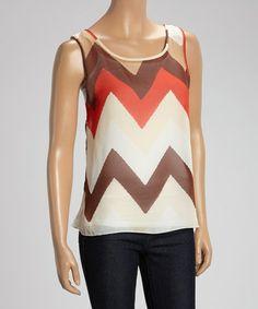 659e877fbaf21 Millenium Clothing Orange   Brown Sheer Zigzag Sleeveless Top