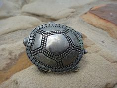 Vintage Silver tone Large Turtle Pin Brooch by ShoppingLounge