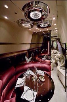 Luxury private jet interior ~ Colette Le Mason @}-,-;---