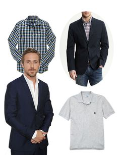 Men's fashion: Essential elements to get a modern business suit, as inspired by #RyanGosling. Ditch the dress shirts for patterned button-downs and polos. #fashion