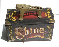 Vintage Painted Wooden Shoe Shine Box With Cast Iron Brass Footplate & Hinged…