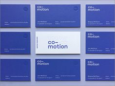 Co-motion business cards with simple royal blue and white colour palette. Clean logo type which looks modern. Front: Letterpress + Clear Foil Back: Screenprint + Clear Foil. Letterpress Business Cards, Cool Business Cards, Business Branding, Business Design, Identity Branding, Visual Identity, Corporate Design, Minimal Business Card, Business Card Design Inspiration
