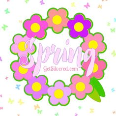 Free silhouette Cutting File for Spring Circle of Flowers.