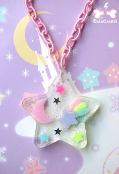 Chain colour idea - without pastel/kawaii style Kawaii Accessories, Kawaii Jewelry, Cute Jewelry, Pastel Fashion, Kawaii Fashion, Mode Lolita, Kawaii Crafts, Magical Jewelry, Resin Charms