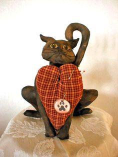 Primitive Folk Art  Valentines Cat Pin Cushion E Pattern.