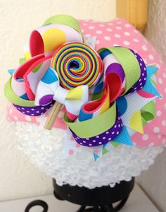 Candy land rainbow  lollipop Over the top hair bow by cococamila, $10.00