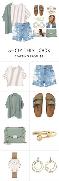 """""""what's paradise if you're not there"""" by polysetter-862 ❤ liked on Polyvore featuring MANGO, rag & bone/JEAN, Violeta by Mango, Birkenstock, Jennifer Lopez, J.W. Anderson, Daniel Wellington and A Weathered Penny"""