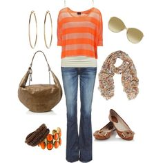 orange & brown, created by #bonnaroosky on #polyvore. #fashion #style #Daytrip #PRPS CUTE