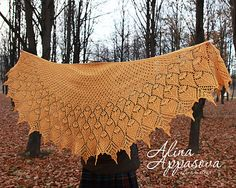 Ravelry: Ozukuri Lace Shawl pattern by Alina Appasov Prayer Shawl Patterns, Stitch Patterns, Knitting Patterns, Lace Knitting, Knitting Stitches, Crochet Doilies, Knit Crochet, Wedding Shawl, Knitted Shawls