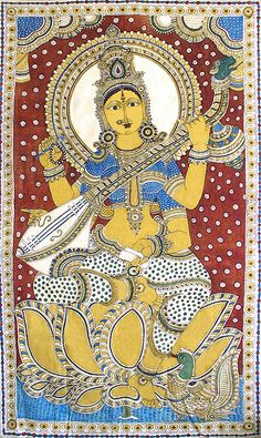 Saraswati - Goddess of Music and Knowledge (Kalamkari Paintings on Cotton - Unframed))