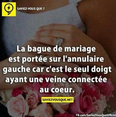 LA bague de mariage ♥ Did everyone else know this? You wear your wedding ring on the third finger of your left hand because it's the only finger with a vein connected to your heart. The More You Know, Good To Know, Did You Know, Best Quotes, Love Quotes, Inspirational Quotes, True Facts, Funny Facts, Rage