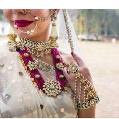Wedding Jewelry Pink beads Rani Haar for an Indian Bride. Looks gorgeous. Dainty Jewelry, Luxury Jewelry, Fine Jewelry, Gold Jewelry, Crystal Jewelry, Pearl Jewelry, Tiffany Jewelry, Diamond Jewellery, Pendant Jewelry