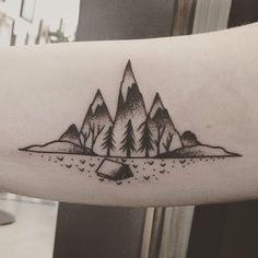 Colorado inspired tattoo. Camping tattoo. Mountain tattoo. Inner arm tattoo. Ritual tattoo and gallery, Denver, co