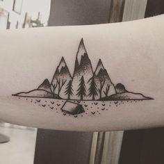 Colorado inspired tattoo. Camping tattoo. Mountain tattoo. Inner arm tattoo. Ritual tattoo and gallery, Denver, co