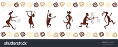 Pattern With Funny Cave Paintings 스톡 벡터 일러스트레이션 272368889 : Shutterstock