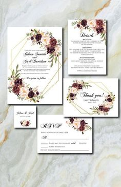 Burgundy Wedding Inv
