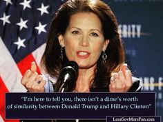 "Im here to tell you there isnt a dimes worth of similarity between Donald Trump & Hillary Clinton"" -M Bachmann #trump #Hannity #usa #hofstra #debate #gameover"