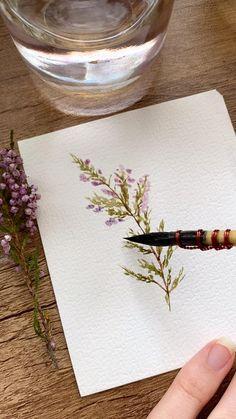 Watercolor Paintings For Beginners, Watercolor Art Lessons, Watercolor Painting Tutorials, Watercolor Brush Pen, Watercolor Video, Watercolor Drawing, Simple Watercolor Flowers, Watercolor Flowers Tutorial, Simple Flower Painting