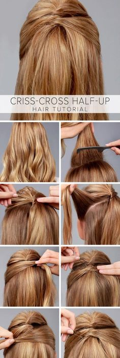 Un peinado semi recogido facil con enrollados y horquillas.