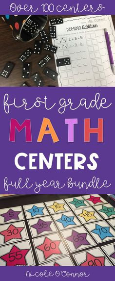 First Grade Math Centers | First Grade Math Stations | Math Centers | Math Stations | Skip Counting | Addition and Subtraction Activities | Telling Time Centers | Money Math | Place Value