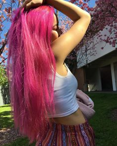 """120 Likes, 10 Comments - Cloe Luu (@cloesshi) on Instagram: """"No filter needed cuz my hair is hotter than the sun  Hair color is Virgin Pink from…"""""""