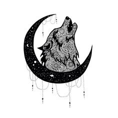 Ideas Tattoo Mandala Animal Doodles For 2019 Doodle Art Drawing, Mandala Drawing, Pencil Art Drawings, Art Drawings Sketches, Mandala Tattoo Design, Wolf Tattoo Design, Wolf Tattoos, Body Art Tattoos, Wolf And Moon Tattoo