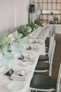 Long banquet tables with grey floor-length linens, coral & white flowers in beadboard boxes. Swap the white napkin out for a navy? Shell Centerpieces, Wedding Centerpieces, Wedding Table, Rustic Wedding, Wedding Decorations, Nantucket Wedding, White Napkins, Banquet Tables, Bridal Flowers