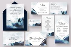 Foggy Woods Wedding Suite by Knotted Design on @Graphicsauthor