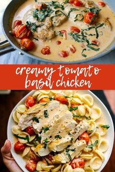 Creamy Tomato Basil Chicken – Mad About Food Creamy tomato basil chicken is a simple one pan, weeknight dinner that is perfect on its own or with rice or a bowl of pasta. Lunch Recipes, Dinner Recipes, Cooking Recipes, Healthy Recipes, Dinner Ideas, Lunch Ideas, Cooking Time, Chicken Basil Pasta, Tomato Basil Pasta