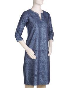 Womens Tussar Cotton Printed Long Kurta