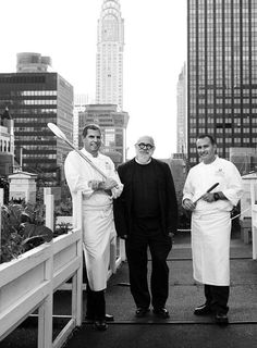 Director of Culinary Chef David Garcelon, Director of Crossroads Edward Sunderland, and Executive Pastry Chef Charles Ramono on the rooftop garden of the Waldorf Astoria New York hotel selecting ingredients for the Fare Share Friday poster photoshoot. November 2014