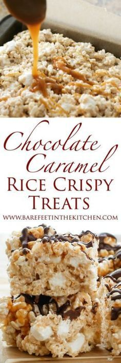 Caramel + Chocolate + tons and tons of marshmallows + plenty of chewy crunch = one heck of an amazing rice crispy treat! I'm on a serious rice crispy treat kick these days. January has been such a bus(Chocolate Bars Rice Krispie Treats) 13 Desserts, Delicious Desserts, Dessert Recipes, Fudge Recipes, Candy Recipes, Oreo Dessert, Dessert Bars, Yummy Treats, Sweet Treats