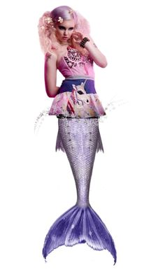"""""""💜 Purple Mermaid Tail"""" by ragnh-mjos ❤ liked on Polyvore featuring art, contest, doll and mermaid"""