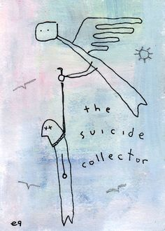 the suicide collector e9Art ACEO Angel Morbid Dark Humor Art Painting Outsider Folk Brut Cartoon