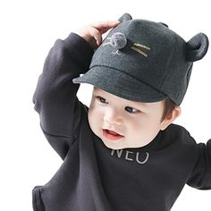 a941271b285 Kollmert Newborn Kids Baby Boy Girl Bunny Rabbit Visor Baseball Cap Cotton Peaked  Hat (Black