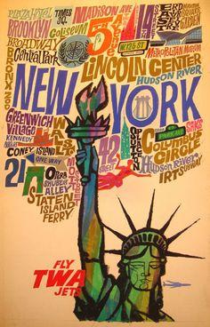 New York travel poster by David Klein. 60s