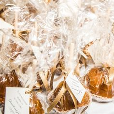 "Rustic Caramel Apple Favors- decorative tag that said ""Your friendship warms us to the core.  Could also add ""Thank you for the love and support"""