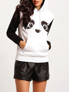 Online shopping for Black White Panda Hoodie Sweatshirt from a great selection of women's fashion clothing & more at MakeMeChic.COM.