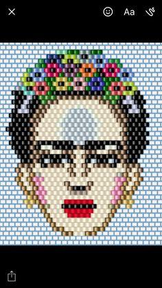 Frida, miyuki, broş, ,frida kahlo, brooch ,necklace , desing , desen