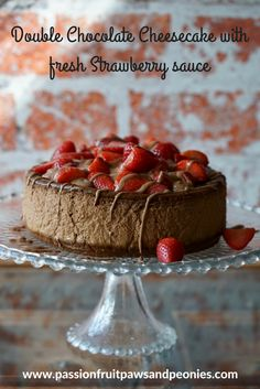 Double Chocolate Cheesecake with fresh strawberry sauce and creamy chocolate drizzle. This is such a useful dessert recipe to have. We all need to know chocolate desserts that are great for many occasions, such as Valentines day or for family holidays. This tastes almost like a mousse cake but is creamier. You'll want to keep this chocolate cheesecake recipe! This dessert is easy to make as long as you follow my step by step recipe.