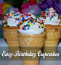 Strawberry Cake Mix and Rainbow Chip icing Ice Cream Cupcakes, Ice Cream Party, Cupcake Cones, Baking Recipes, Cupcake Recipes, Strawberry Ice Cream, Dessert Cups, Tray Bakes, Delicious Desserts