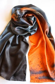 Gray orange silk scarf hand paint Heron scarf Ladies bird wrap Art to wear scarf Mother silk wrap Batik scarf Unique grey silk gift for her ----------------------------------------------------------------------------------------- Brilliant hand painted silk scarf with great heron, created