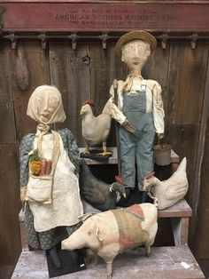 prim dolls by Mary hinton Primitive Fall, Primitive Folk Art, Primitive Country, Primitive Crafts, Country Decor, Country Living, Primitive Doll Patterns, Homemade Dolls, Making Dolls