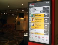 Digital signage showing the upcoming agenda at The Travel Convention