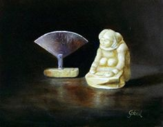 Inuit Carving and Ulu by Valerie Gobeil Oil ~ 11 x 14